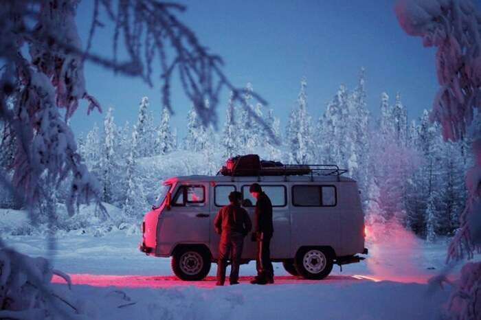 -A Soviet-era Uazik van that is the most favored vehicle in Oymyakon during winters