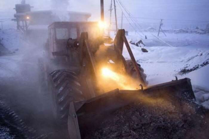 Roads being thawed using hot coal in Oymyakon in winters