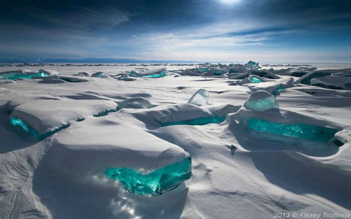 Lake Baikal gets frozen in winters and is a sight to behold with its turquoise ice.