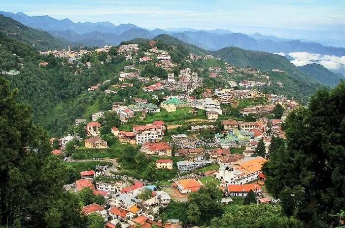 A bird-eye-view of the city of Mussoorie