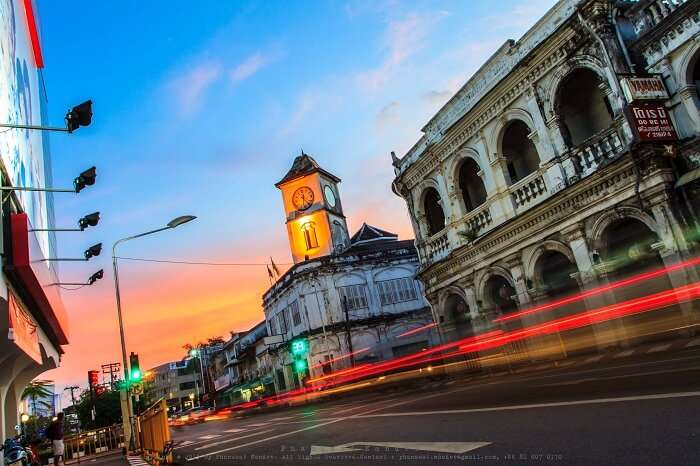 Evening view of bustling Old Phuket Town