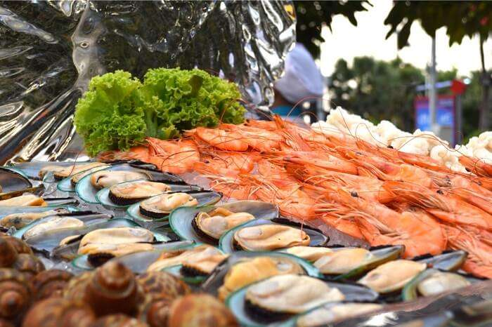 The numerous dishes of seafood in Pattaya