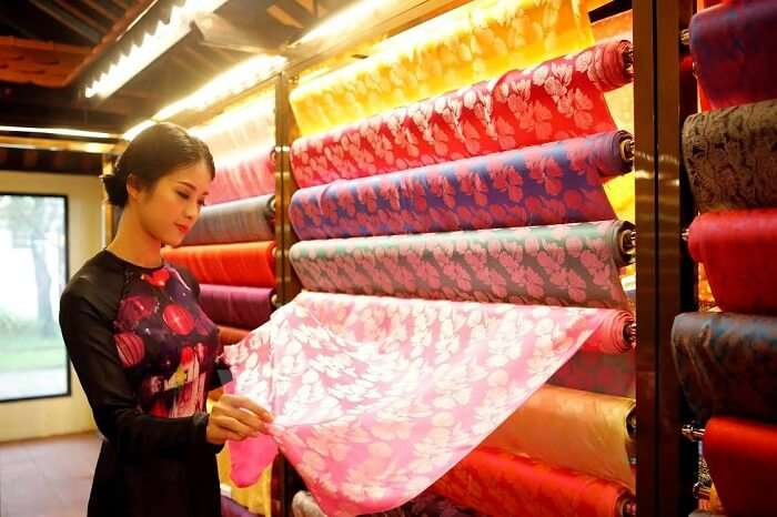 Shopping for silk material is one of the fun things to do in Vietnam