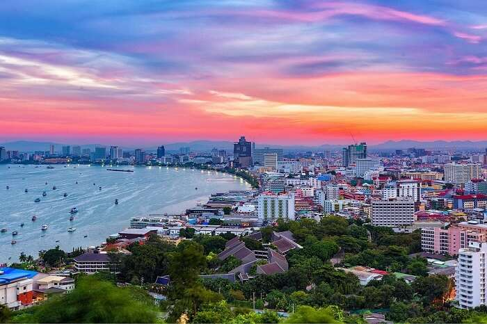 The building and skyscrapers in twilight time in Pattaya