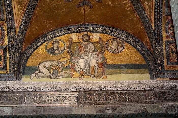 Unplastered mosaics of Jesus and Virgin Mary at Hagia Sophia