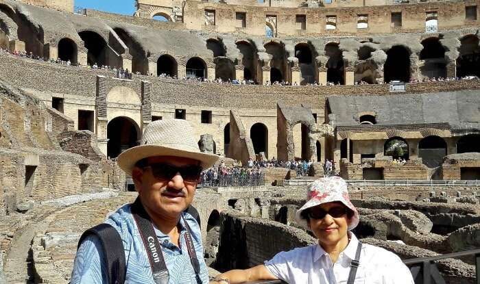 Mr. Abhishek and his wife in the Colosseum