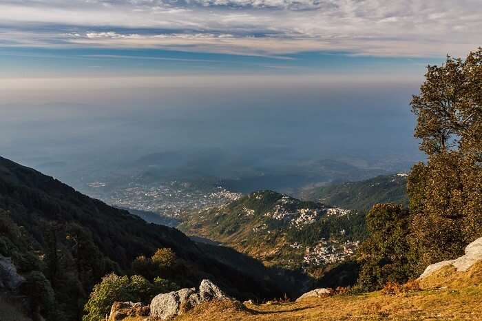 A view from the hills in Himalayas during the Triund trek
