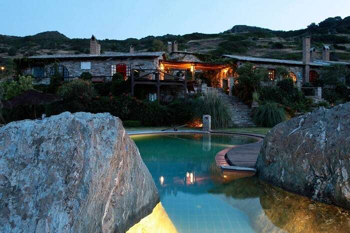 An evening shot of the swimming pool at the Aegean Island Villa near Athens in Greece