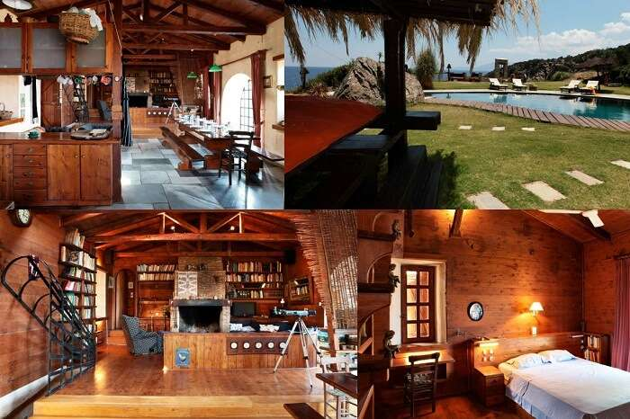 A collage showing the various amenities at the Aegean Island Villa