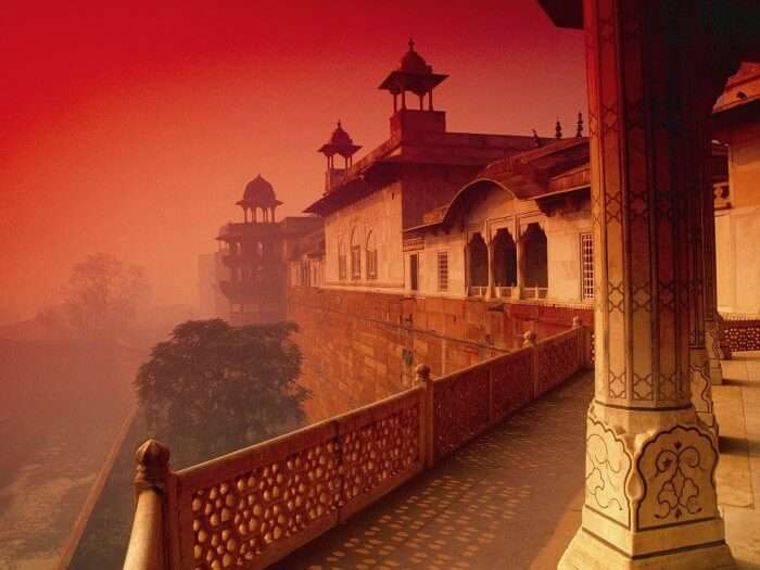Dwell in the red and white interiors of the Agra Fort