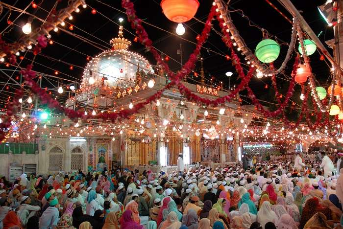 Ajmer Sharif at its best in colorful lights in Rajasthan
