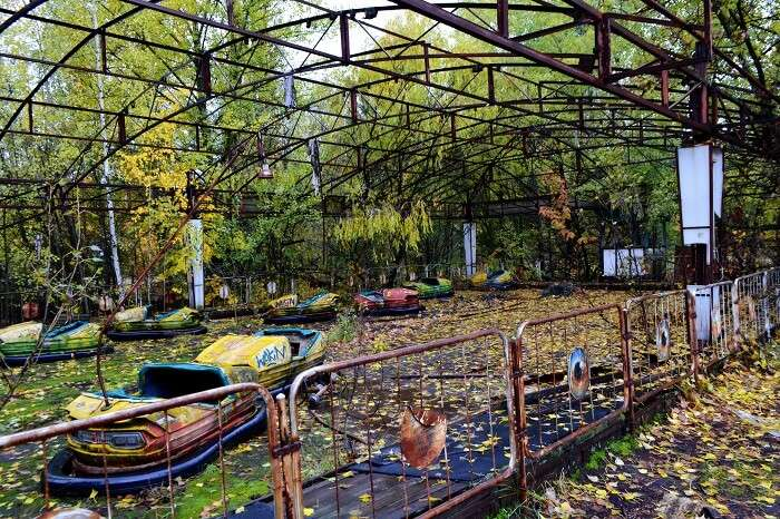 Abandoned car ride area at the amusement park in Pripyat