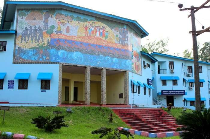 The entrance of the Anthropological Museum that houses many tribal artefacts and photographs