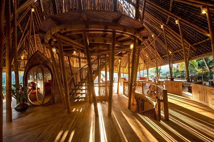 The interiors of the Bamboo House in Bali