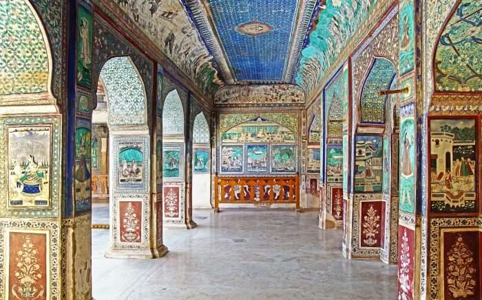 Interior of Garh Palace in Bundi
