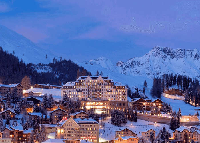The stunning Carlton Hotel at St Moritz