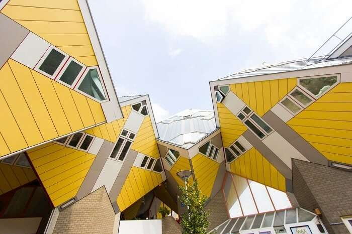 A view of the Cube house at Rotterdam in Netherlands from outside