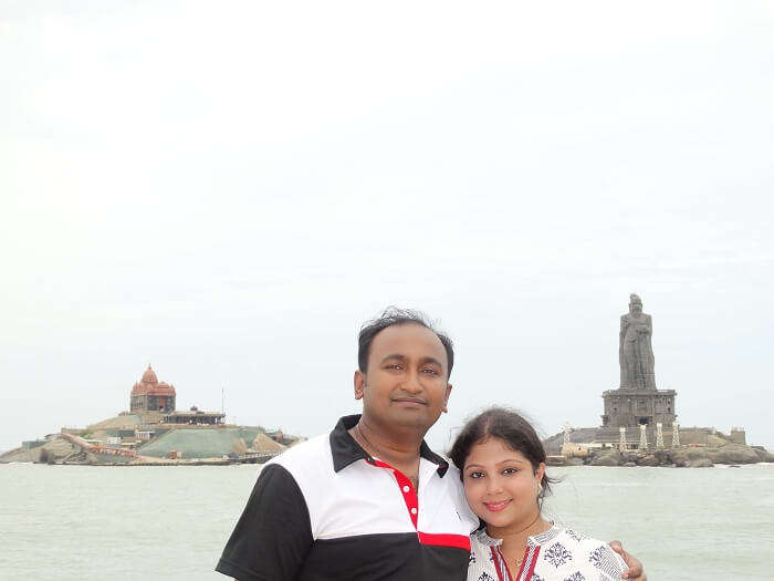 Suvankar and his wife doing sightseeing in Kanyakumari