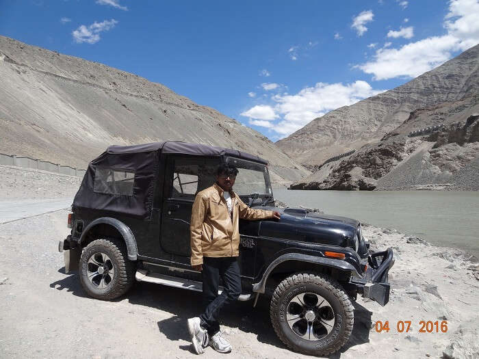 Satish venturing out in the rugged terrain of Ladakh