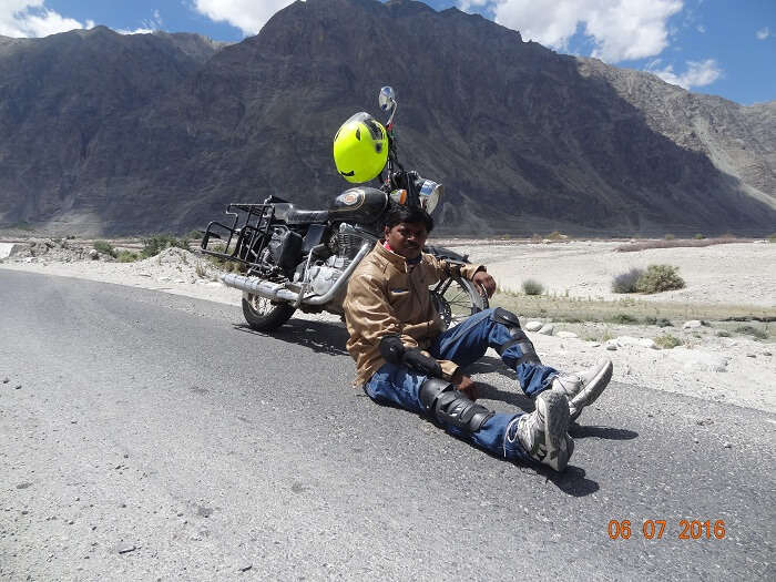 Satish on a scenic ride in Ladakh