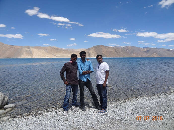 Satish and his friend at Pangong Tso