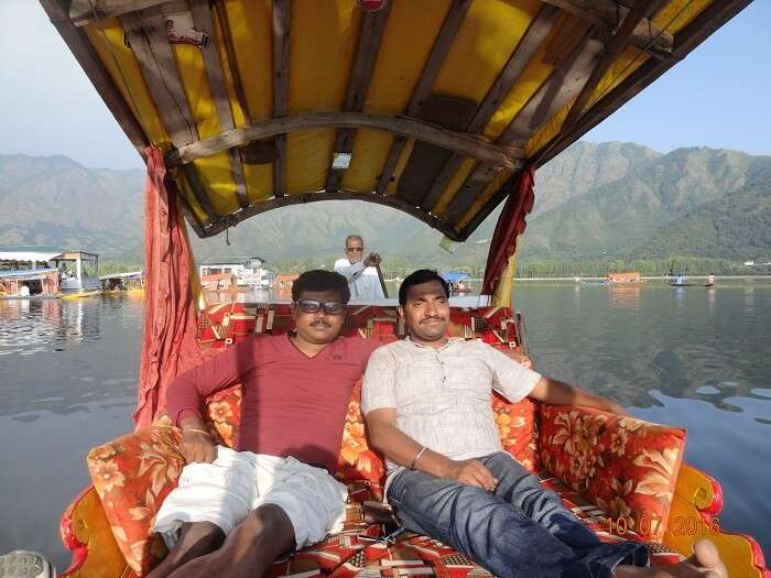 Enjoying boating in Dal Lake