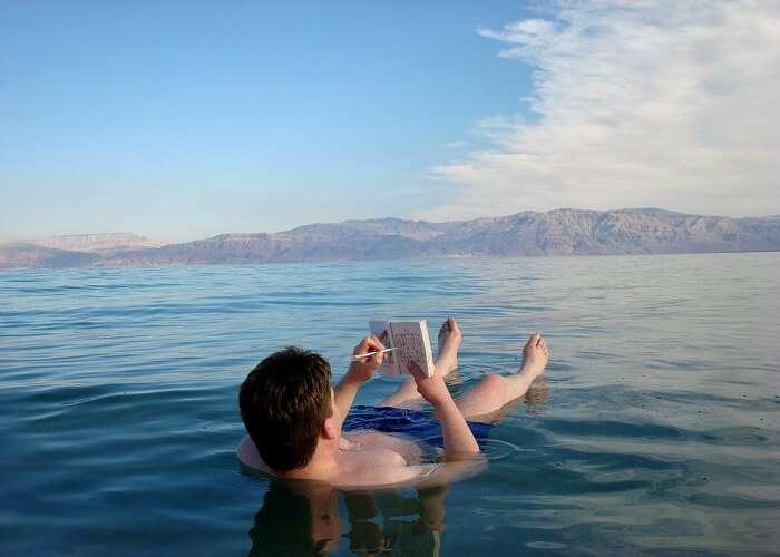 Float on the dead sea in Jordan