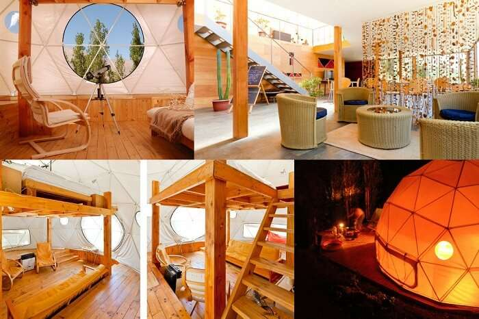 Many views of the interiors of the ElquiDomos Astronomic hotel in Chile