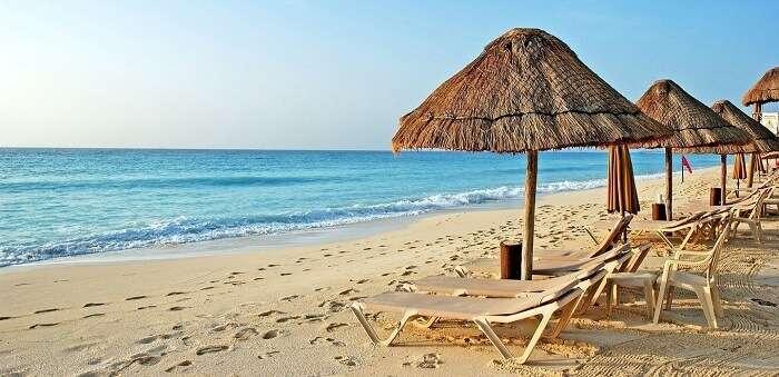 Beautiful sandy beach of Goa in India