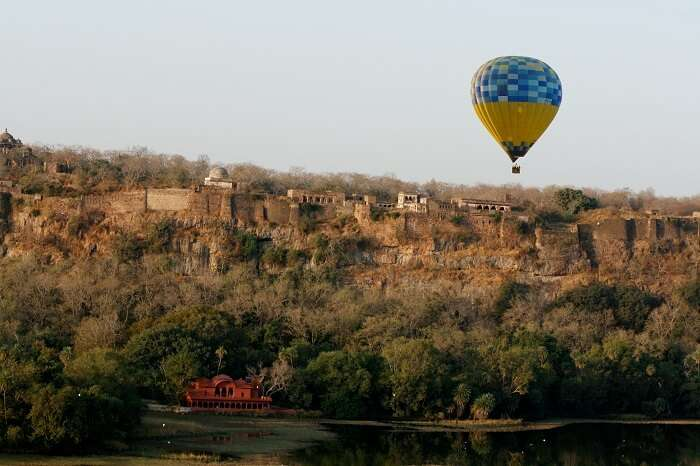 Beautiful scene of hot air ballooning in Rajasthan