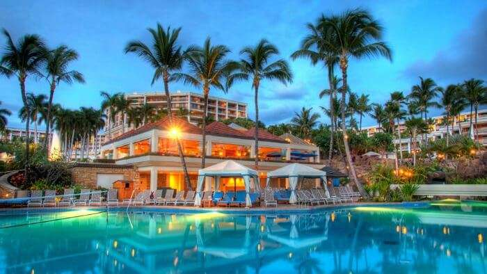 Poolside views of the grand Hotel Wailea