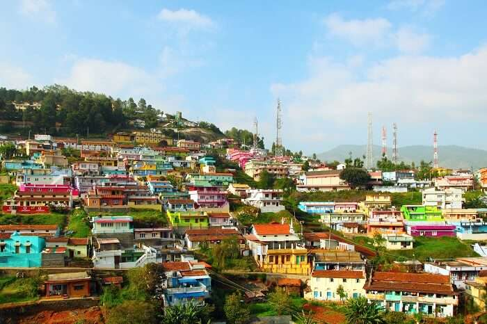 The colorful houses on the hills of Coonoor