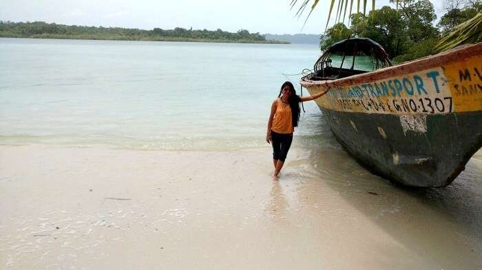 Utsav's wife taking a walk in the low tide