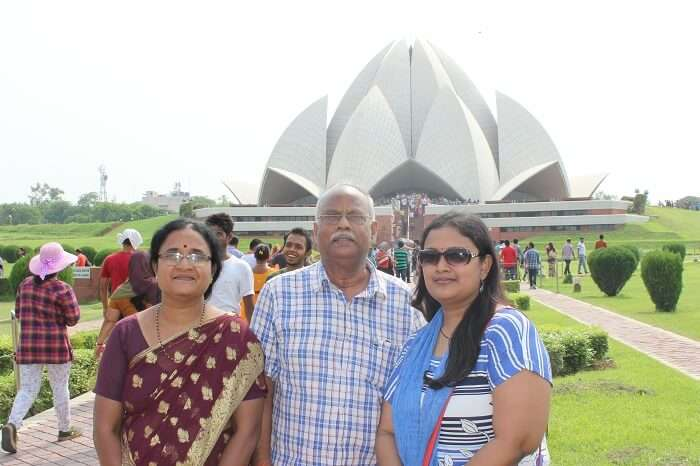Outside the Lotus Temple in New Delhi