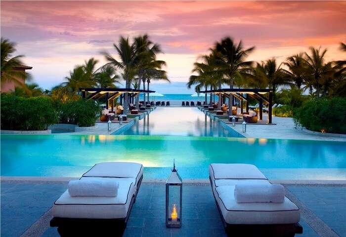 JW Marriott Panama Pool as seen in dusk