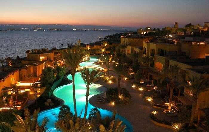 Lighted pool at the Kempinski Hotel Ishtar in Jordan
