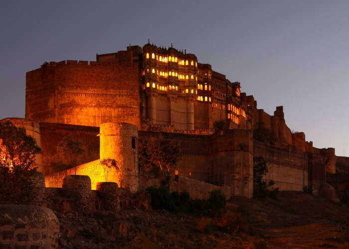 The beautiful view of Mehrangarh fort at night