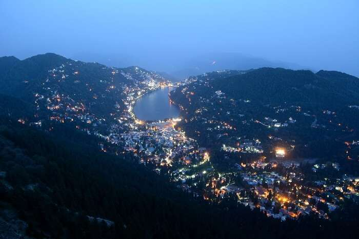 A view of the nightscape at Nainital that is one of the best places to visit in India in September