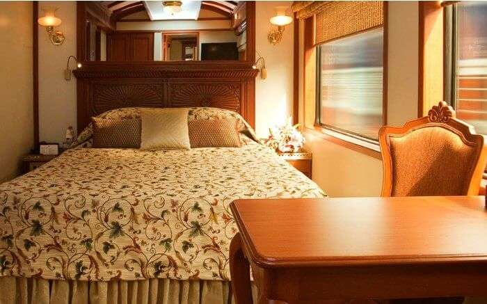 Interiors of deluxe room in 'Palace On Wheels'