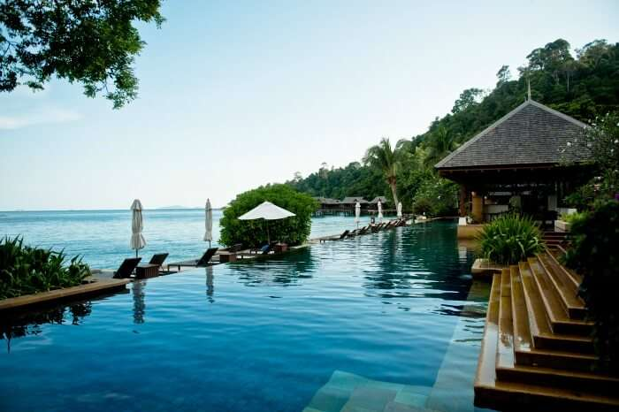 Outdoor pool deck of the Pangkor Laut Resort