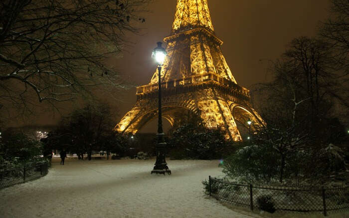 Snow around Eiffel Tower in Paris