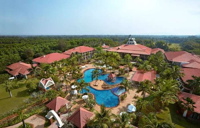 An aerial view of the Ramada Caravela Beach Resort
