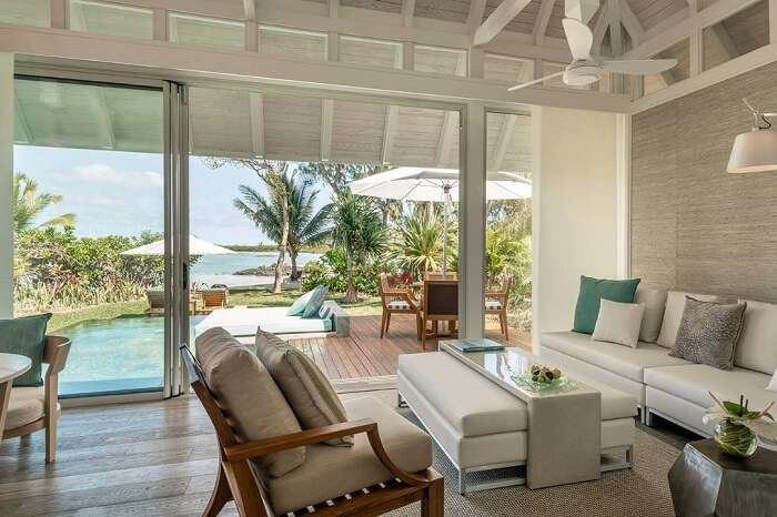 The plush interiors of the Sanctuary Beach Pool Villa at the Four Seasons resort in Mauritius