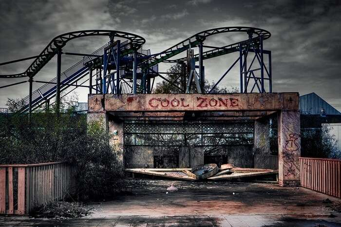 The spooky looking rides at the abandoned Six Flags Amusement Park in New Orleans