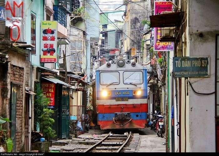 Interesting track of a railway in Vietnam