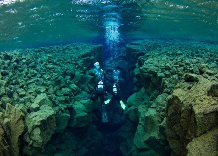 Adventurous Silfra rift in Iceland