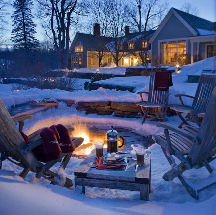A cozy fire pit at the Twin Farms
