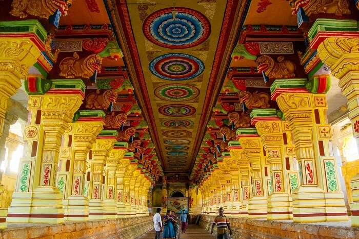 Hindu pilgrims at the Corridors of Ramanathaswamy temple in Rameswaram