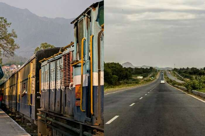 Road and rail route sceneries on the way to Manali