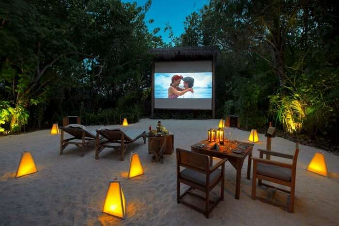Open air jungle cinema setup in Maldives